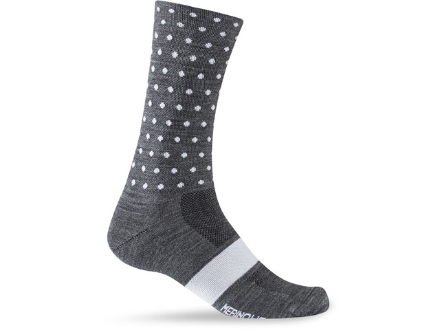 Giro Seasonal Merino Wollen Sokken, charcoal/white dots